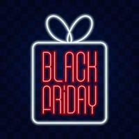 Enseigne au néon isolé réaliste de vecteur de lettrage de vendredi noir pour la décoration et la couverture sur le fond transparent. concept de vente, de liquidation et de remise.
