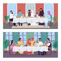 dîner de mariage oriental traditionnel plat couleur vector illustration set