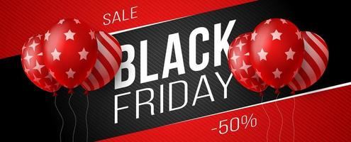 bannière horizontale de vente vendredi noir avec des ballons brillants sombres et rouges sur fond noir avec place pour le texte. illustration vectorielle. vecteur