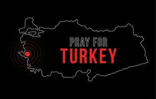 l'épicentre du tremblement de terre en Turquie. prier pour la dinde. Carte d'illustration vectorielle avec le texte demandant prie en raison d'un fort tremblement de terre près d'izmir le 30 octobre vecteur