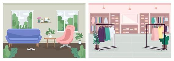 décoration intérieure plat couleur vector illustration set