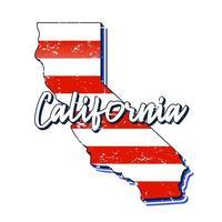 drapeau américain sur la carte de l'état de Californie. style grunge de vecteur avec typographie lettrage dessiné à la main californie sur carte en forme de vieux drapeau national américain vintage grunge isolé sur fond blanc