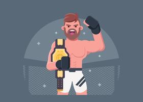 Ultimate Fighter avec sa ceinture de championnat vecteur