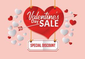 Grande vente de Saint Valentin, affiche Template Vector Illustration