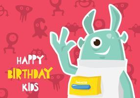 Carte d'anniversaire Monster vecteur