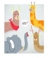 Créatures mignonnes Animal Tête Vector Illustration