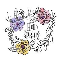 Belles feuilles, fleurs et branches avec citation inspirée. vecteur