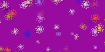 modèle de doodle de vecteur multicolore clair avec des fleurs.
