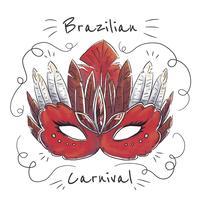 Masque brésilien aquarelle rouge vecteur