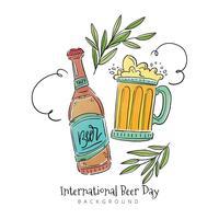 Bouteille de bière, tasse de bière avec des feuilles et des ornements vecteur