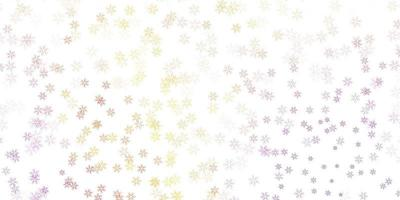 fond abstrait de vecteur rose clair, jaune avec des feuilles.