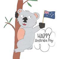 Koala mignon avec le drapeau australien vecteur