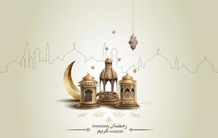 conception de cartes de voeux islamique eid mubarak avec de belles lanternes dorées et un croissant de lune vecteur