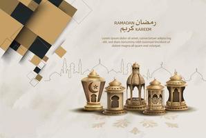 conception de modèle de ramadan de voeux islamique vecteur