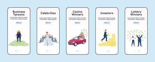 écran de l'application d'intégration de personnes riches vecteur