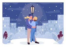 illustration vectorielle de soirée romantique hiver plat couleur vecteur