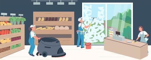 illustration de nettoyage de supermarché