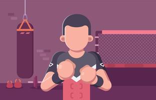 Ultimate Fighting Fighter dans un centre de formation vecteur