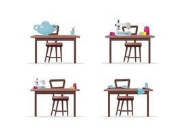 Ensemble d'objets vectoriels de tables de travail artisanal