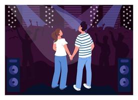 couple d & # 39; adolescents en illustration vectorielle de club plat couleur vecteur