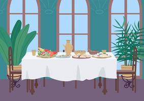 dîner indien à la maison illustration vectorielle couleur plat vecteur