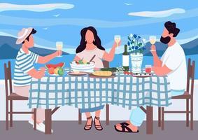 vacances grecques pour illustration vectorielle de couleur plat amis