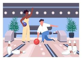 illustration vectorielle de bowling date plat couleur vecteur