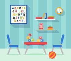 Vecteur plat décor chambre d'enfants