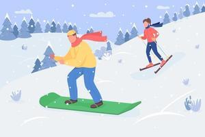 illustration vectorielle semi plat de snowboard vecteur