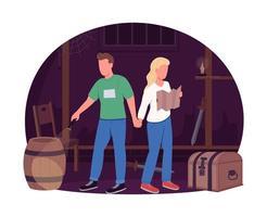 couple dans la salle d & # 39; évasion bannière web vecteur 2d, affiche