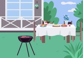 illustration vectorielle de maison jardin barbecue couleur plat vecteur