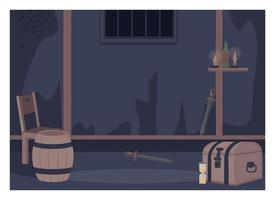 illustration vectorielle de quête salle plat couleur vecteur