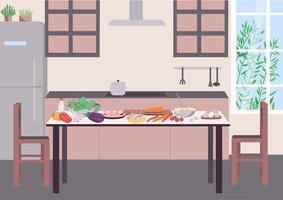 table de cuisine pour cuisiner illustration vectorielle couleur plat vecteur