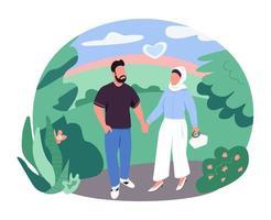 couple arabe sur la bannière web vecteur marche 2d, affiche