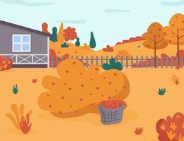 illustration vectorielle semi plat de récolte de jardin automne vecteur