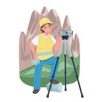 Arpenteur-géomètre femme près des montagnes caractère détaillé de vecteur de couleur plat