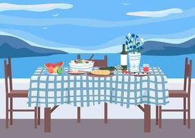 illustration vectorielle de banquet grec plat couleur vecteur