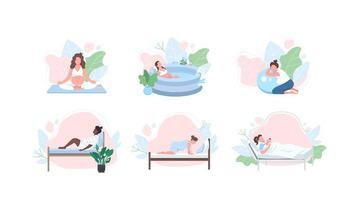 jeu de caractères sans visage femme enceinte plat couleur vecteur
