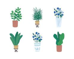 ensemble d'objets vectoriels plats homeplants