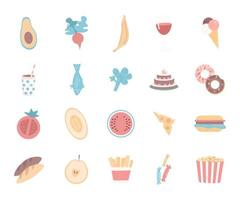 objets vectoriels couleur plat alimentaire vecteur