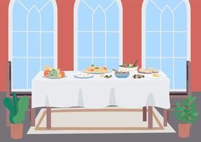 illustration vectorielle de luxe dîner table plat couleur vecteur