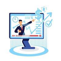 illustration vectorielle de marketing en ligne tutoriel plat concept vecteur