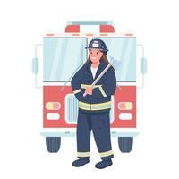 femme, pompier, plat, couleur, vecteur, détaillé, caractère