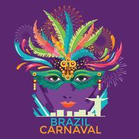 Illustration de l'affiche du festival Rio Carnaval. Défilé de nuit du Brésil Carnaval Party Parade Masquerade vecteur