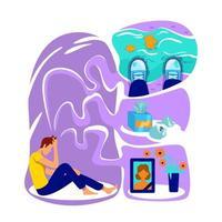 illustration vectorielle de dépression concept plat