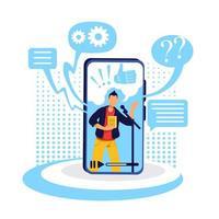 podcast sur illustration vectorielle de smartphone concept plat vecteur
