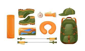 équipement de randonnée ensemble d'objets vectoriels couleur plat