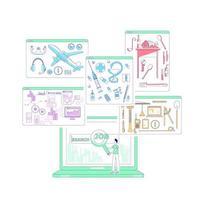recherche d & # 39; emploi mince ligne concept illustration vectorielle