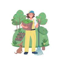 femme, jardinier, plat, couleur, vecteur, détaillé, caractère