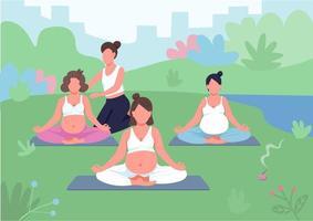 illustration vectorielle de cours de yoga en plein air couleur plate vecteur